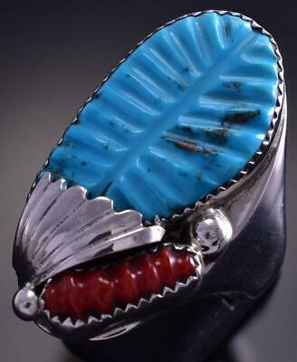 Size 13-1/2 Silver & Turquoise & Coral Zuni Feather Men's Ring by L Tsatte 9E15O