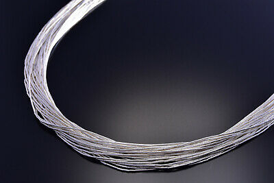 30 Strand Liquid Silver Necklace 18 Inches long 9J15O