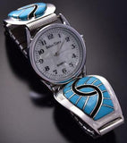 Silver & Turquoise Zuni Inlay Hummingbird Design Men's Watch by Amy Wesley ZA08R