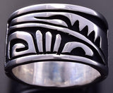 Size 8-1/2 All Silver Native American Adobe Navajo Wide Ring by Kary Begay ZA08C