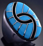 Size 10-1/4 Silver & Turquoise Zuni Inlay Men's Ring by Amy Wesley 9F12B