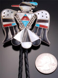 Multistone Silver Inlay T-bird Bolo Tie by Bobby Shack - LJ80A
