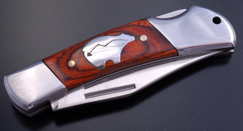 Beautiful Silver HEART LINE BEAR and Wood Knife by Tom Gwynn  ZC1E