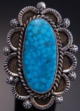 Size 8-1/4- Silver Turquoise Concho Ring by RB- TO42Q
