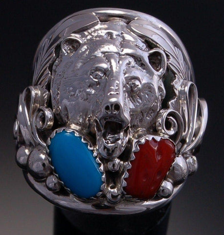 Size 11 - Silver Bear Mens Ring - Turquoise Coral ~ Navajo RG1T-11
