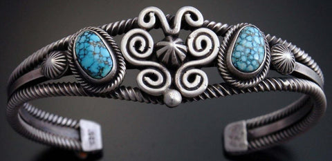 ZBM Silver & #8 Spiderweb Turquoise Butterfly Bracelet by Erick Begay- UA72O