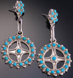 Silver Turquoise Zuni Petty Point Circle Earrings by Delores Peina - EF10G