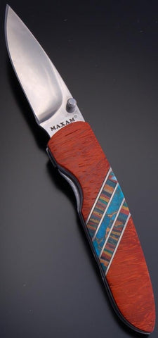 Red Wood Single Turquoise & Rainbow Calsilca Inlay Pocket Knife  Clip - VN81H