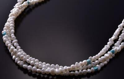 Silver & Dry Creek Turquoise & Fresh Water Pearl Necklace by Erick Begay ZC19O