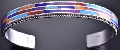 Silver & Turquoise Multistone Navajo Inlay Men's Bracelet by Wilson Dawes 8J15L