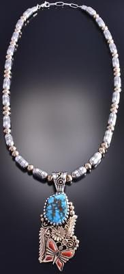 Silver & 14k Gold Morenci Turquoise Coral Spring Sonata Necklace E Begay 8H12B