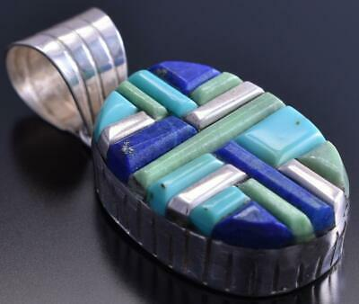 Silver & Turquoise Lapis Navajo Inlay Soft Edges Oval Pendant Wilson Dawes 8C20N