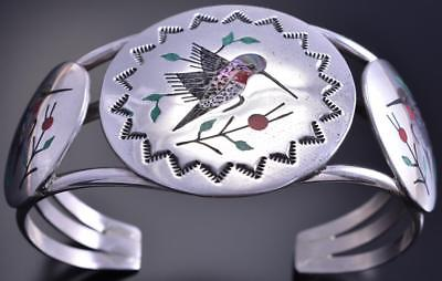 Silver & Abalone & More Navajo Inlay Hummingbirds Bracelet by Raymond Boyd 8D04N