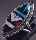 Size 8 Silver & Turquoise Multistone Zuni Inlay Marquis Ring Leslie Gladys ZG17H