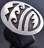 Vintage Size 6 All Silver Navajo Water Design Round Ring 9A11M