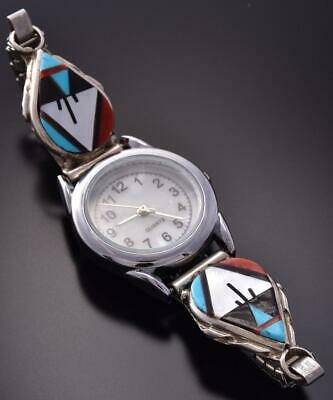 Silver & Turquoise Multistone Zuni Inlay Women's Watch by Carol Niha ZA22V