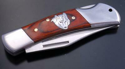 Beautiful Silver and Wood Wolf Knife by Tom Gwynn 9J03E