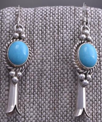 Silver & Turquoise Navajo Squash Blossom Round Earrings by Erick Begay 8C06W