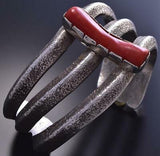 Vintage Silver & Oxblood Coral Navajo Tufacast Open Bracelet by ITC 9A24B