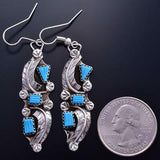 Silver & Turquoise Zuni Handmade Feather Earrings by Amy Locaspino 9B26H