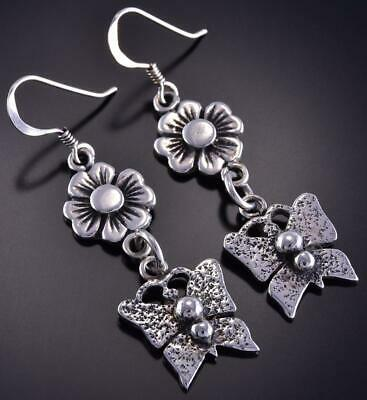 All Silver Flowers & Butterflies Navajo Handmade Earrings by Erick Begay ZL10M