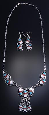 "26"" Silver Multistone Zuni Inlay Soft Edge Necklace & Earring Set 7J21X"