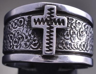 Size 9 Coin Silver Navajo Handstamp Design Cross Wide Ring by Erick Begay 8F27G