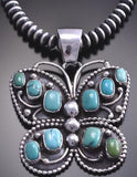 Silver & Turquoise Multistone Butterfly Navajo Design Pendant 8F18S