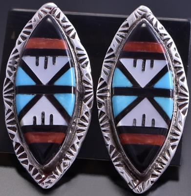Silver & Turquoise Zuni Multistone Marquise Post Earrings by Larry Leslie 8G10W