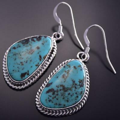 Silver & Turquoise Navajo Twisted Rope Earrings by Lee Shorty ZG15C