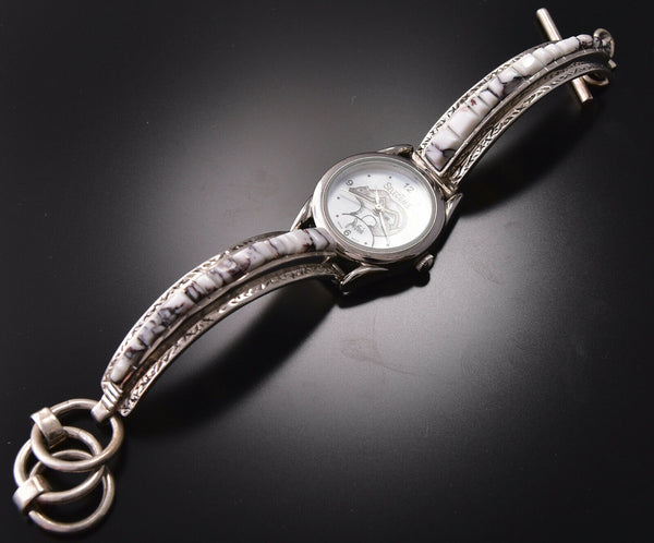 White Buffalo Turquoise Inlay Women's Watch Bracelet by Wilson Dawes 9M16Q