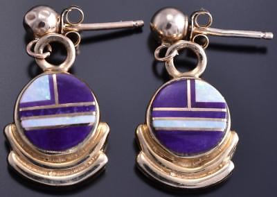 14k Gold & Sugilite w/ Opal Navajo Inlay Round Dangle Earrings 8D21K