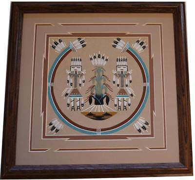 Navajo Sand Painting by Phoebe Tsosie 8C15C - 13-1/2 x 13-1/2