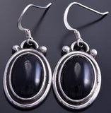 ZBM Silver Onyx Round Navajo Design Dangle Earrings by Erick Begay 8C06T