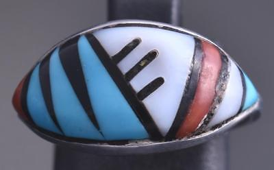 Size 8 Preowned Silver & Turquoise Multistone Zuni Inlay Wide Face Ring 8E08O