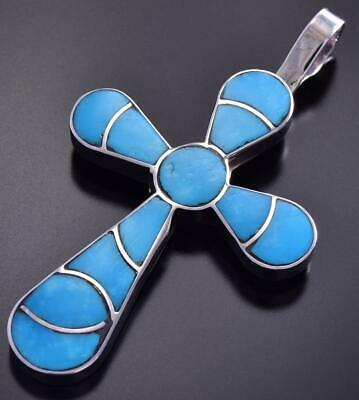 Zuni Inlay Turquoise Cross Pendant by Lynelle Johnson 9J24J