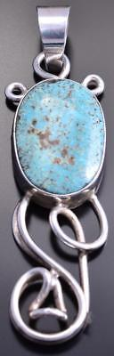 Silver & Smokey Valley Turquoise Open Flow Navajo Pendant by Scott Skeets 8G09P