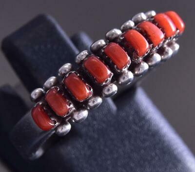 Size 6-1/2 Silver & Coral Zuni Petty Point Row Ring by Irma Unkestine ZG17K