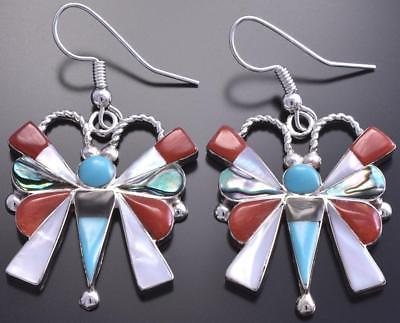 Silver & Mother of Pearl Zuni Inlay Butterfly Earrings by Caroline Edakie 8G09R