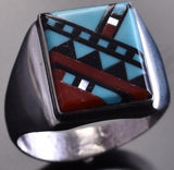 Size 10 Zuni Inlay Men's Ring by Herbert Kallestewa 8I01H