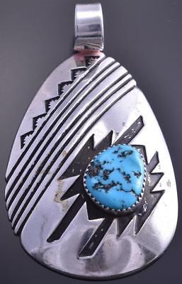 Vintage Silver Sleeping Beauty Turquoise Navajo Pendant by R. Charley 7L29U
