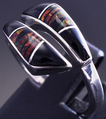 Size 8 Silver & Jet & Fire Opal Navajo Inlay Adjustable Ring by JB 8J26O