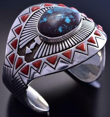 Collectable Silver & Bisbee Turquoise Navajo Bracelet by Jay Livingston C1915M
