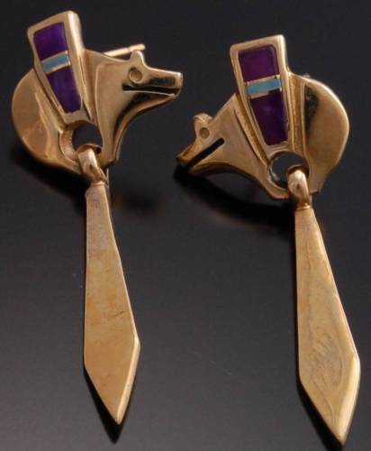 14k Purple Sugilite and Opal Heartline Bear Earrings by FJ - VN10X
