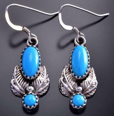 Silver & Turquoise Double Feather Navajo Handmade Earrings by RB 9B28Q