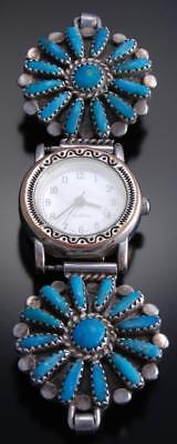 Vintage Silver Turquoise Needlepoint Navajo Women's Watchband by L Byjoe 7K07S
