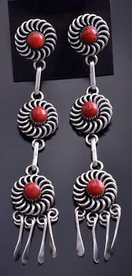 Silver & Coral Three Tier Zuni Eye Dazzler Earrings by Al Lementino 9B26X