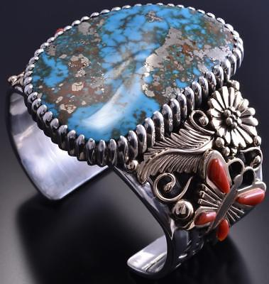 Silver & 14k Gold & Morenci Turquoise Coral Butterfly Bracelet Erick Begay 8H12E