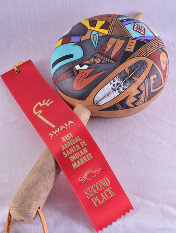 Award winning Painted Kachina Gourd Rattle by Frank Poolheco ZH17Z