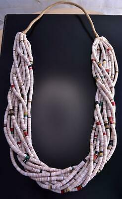 "32"" Vintage 10 Strand Multistone Olive Shell Necklace by Kenneth Aguilar ZL17Y"